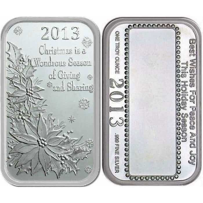 """/"""" Let There Be Peace /"""" Christmas Bar  by Silver Towne 1 Troy oz.999 Silver"""